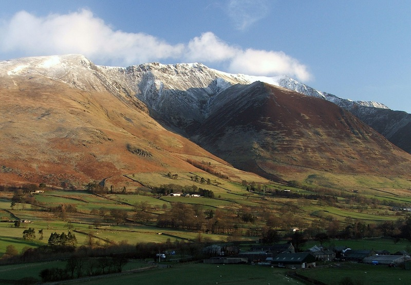Photo of Blencthra from the south-west, with light snow         on the summit