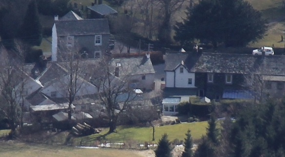 Rose Cottage and garden, seen from                   Blencathra's peak