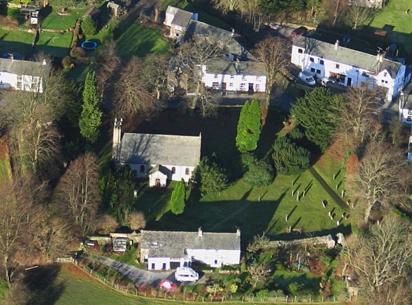 View of Threlkeld village                 centre, from the air